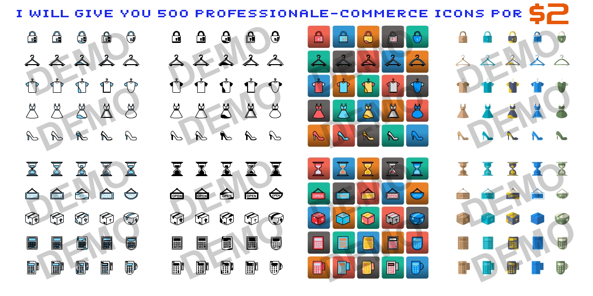 I Will Give You 500 ProfessionalE-Commerce Icons Mega Pack