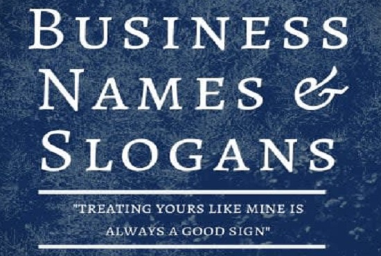 I Will Ideate Suitable Names And Slogans for Business, Brands and Services