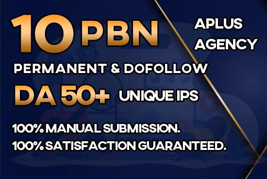 Provide 10 Premium PBN DA 50+ SEO Dofollow Backlinks
