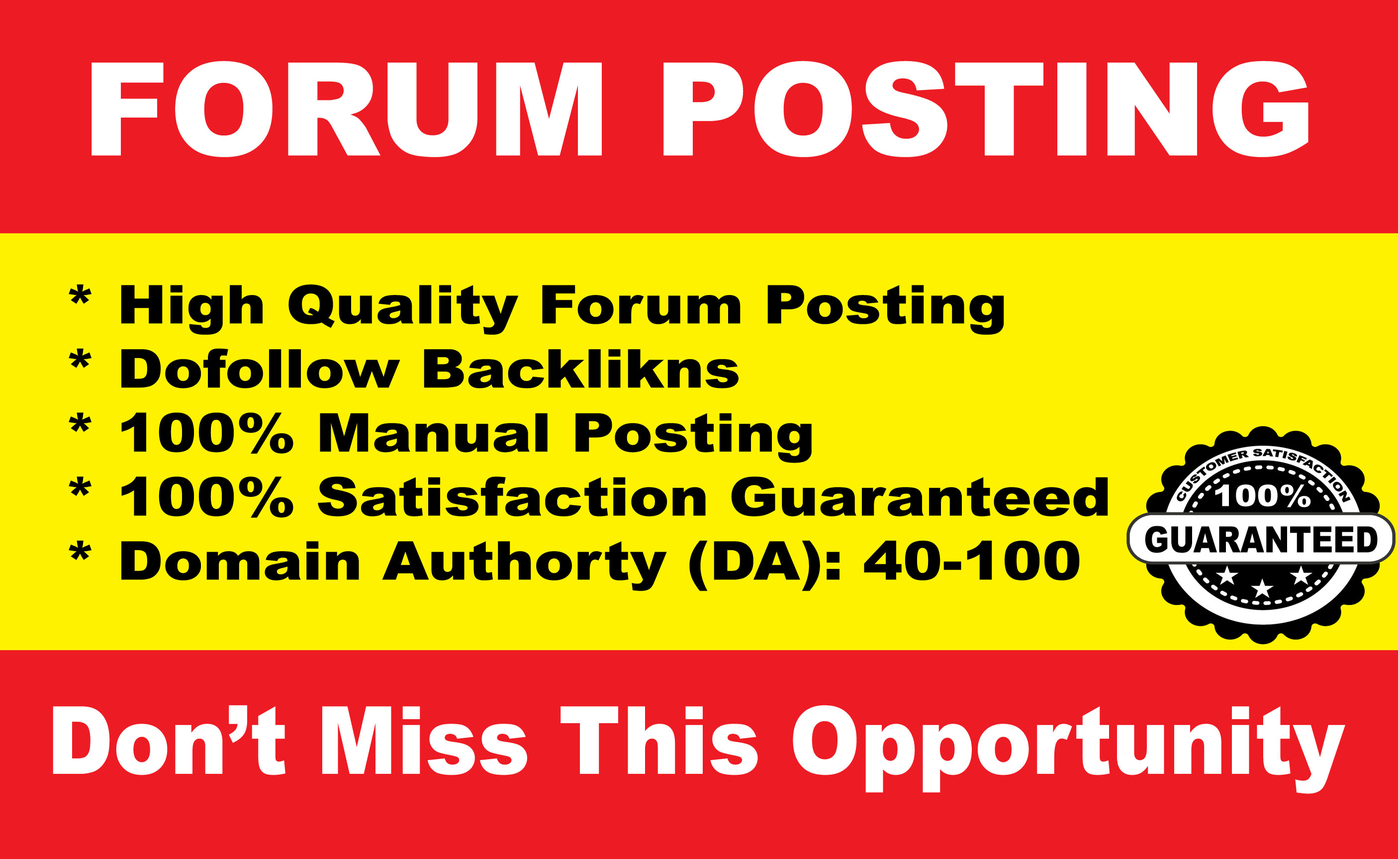 I will create da 30 forum posting,  high quality
