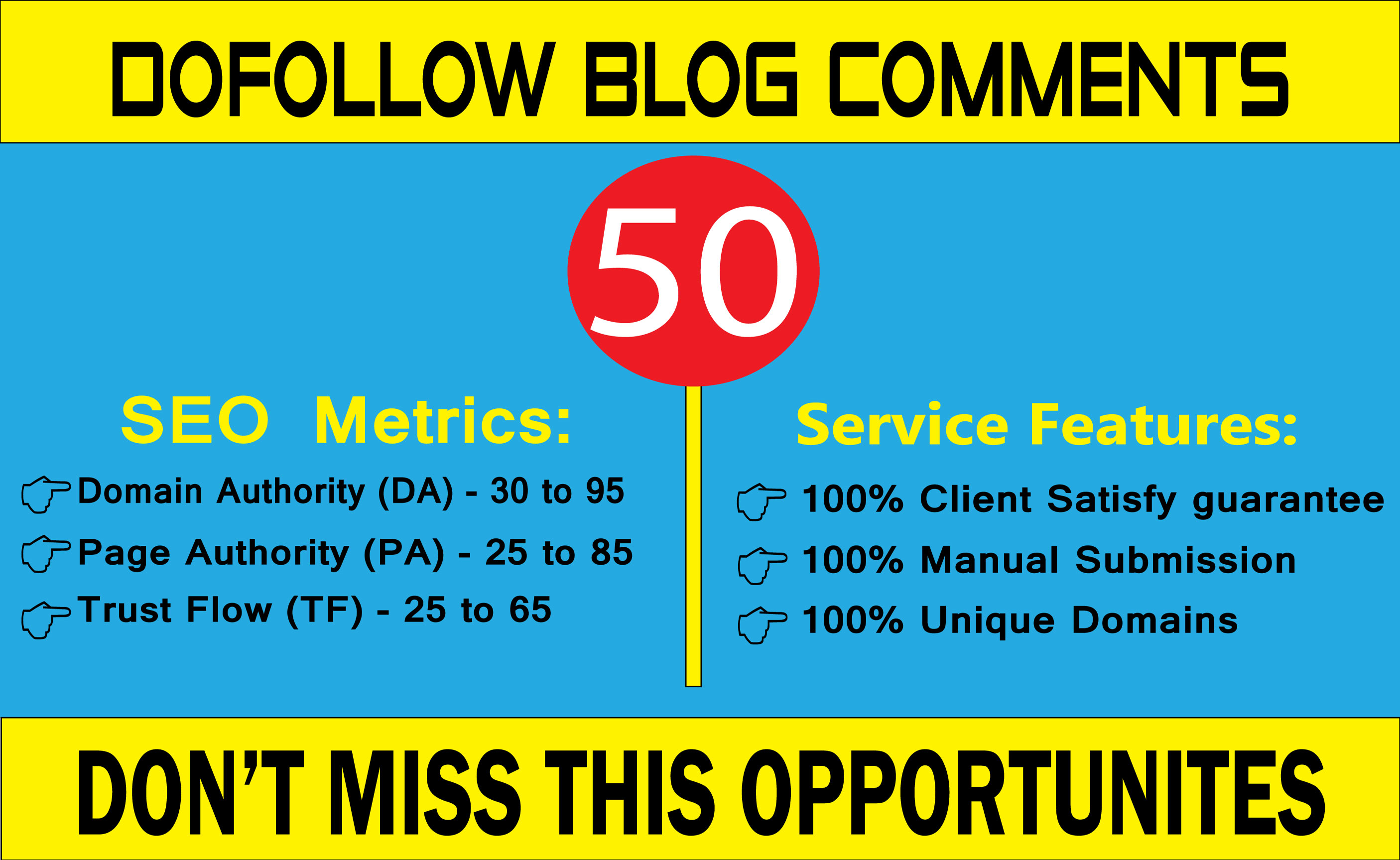 I will create 50 high quality Dofollow blog comments