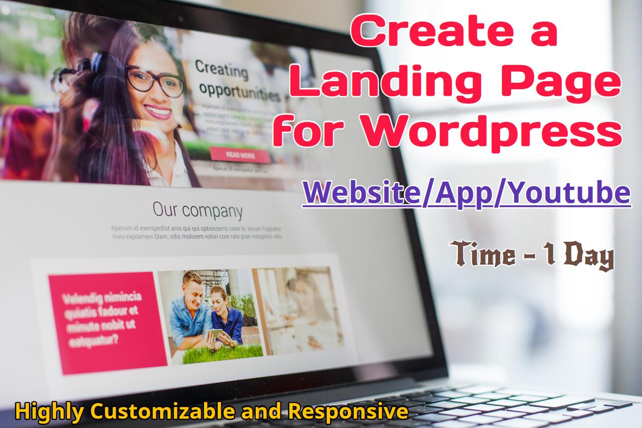 Create Custom Landing Page for Wordpress Website/App/Youtube