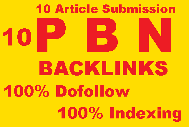I will do Permanent 10 PBN Backlinks 10 Article Submission High da pa site