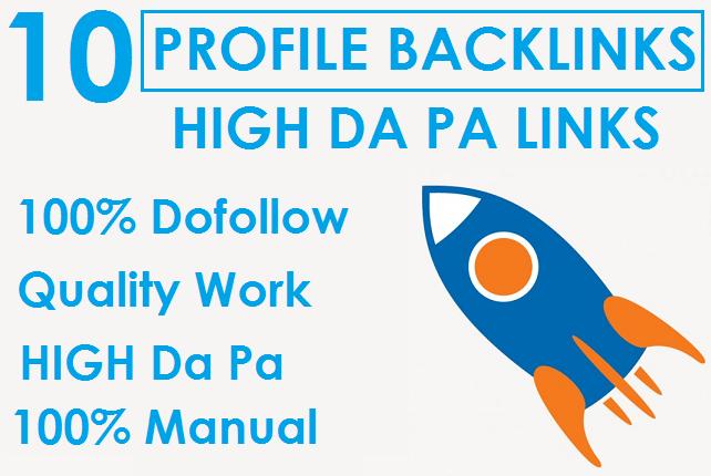 I will Do 10 High Da Profile Backlinks Manually For SEO Ranking