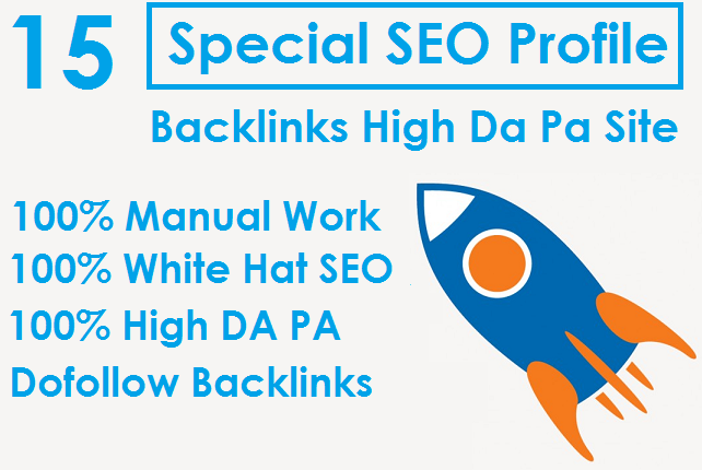 I will Do 15 Special SEO Profile Backlinks High DA PA Site