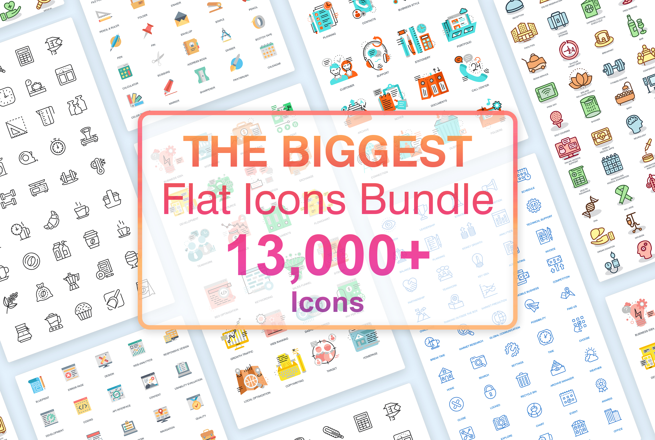 13,000 Flat Icons Mega Bundle For Designers