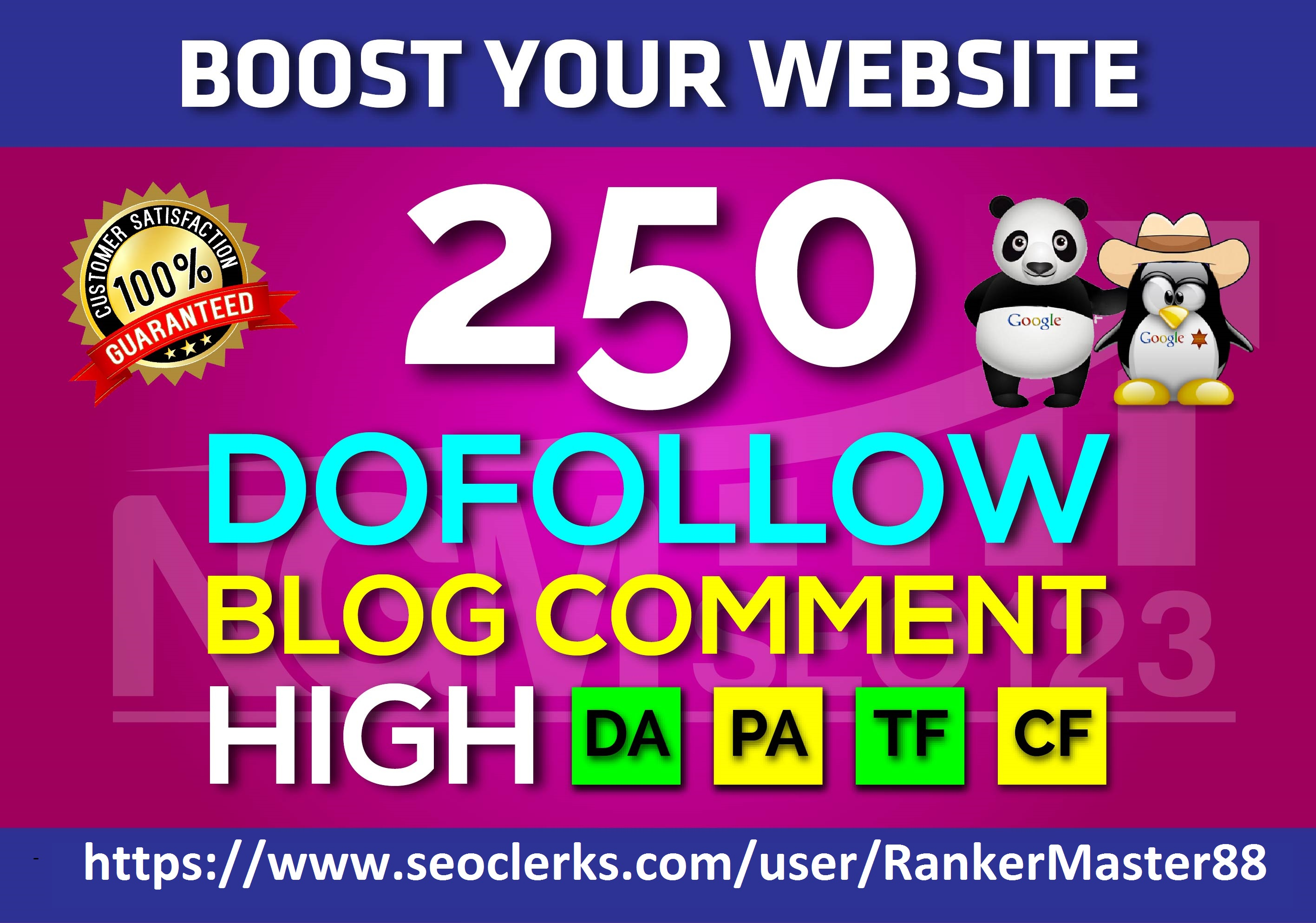 I Will Make 250 DoFollow Blog C0mments High DA PA TF CF for Rank your Website