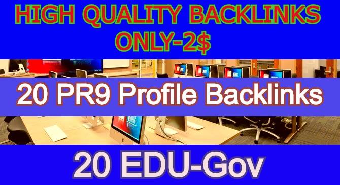 I Will Create a Manually SEO Service 20 PR9 And 20 EDU -GOV Profile Backlink