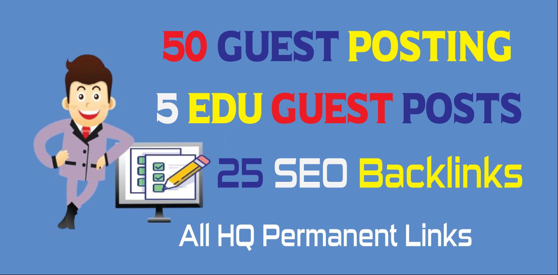 50 HQ Guest Posting + 5 DA90 EDU Guest Posts + 25 DA90 SEO Backlinks