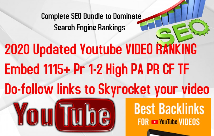 2020 Updated Youtube VIDEO RANKING -Embed 1115+ Pr 1-2 High PA PR CF TF Do-follow links for video