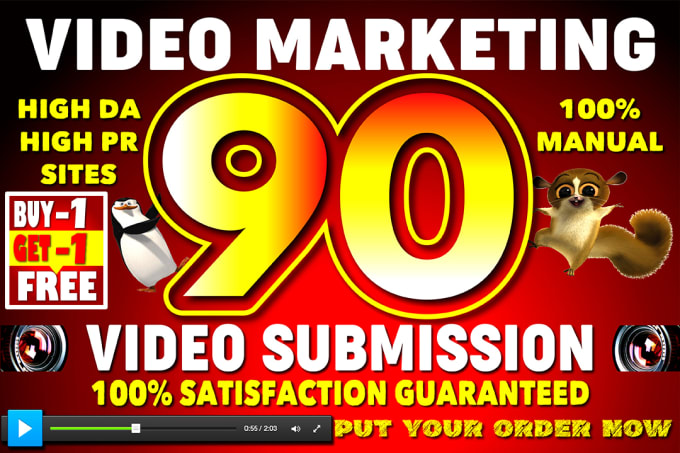 I will make manual video submission on top 90 high PR video sharing sites