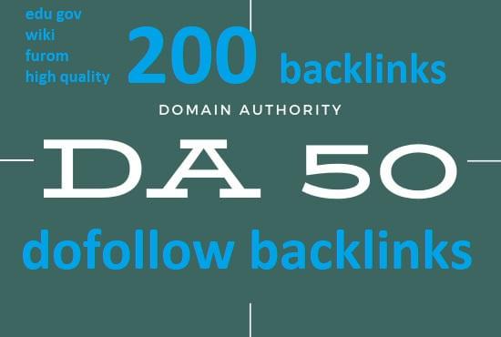 Create Domain Authority DA 50 Plus 50 edu, 50 wiki, 50 forum,  50 quality do-follow backlinks