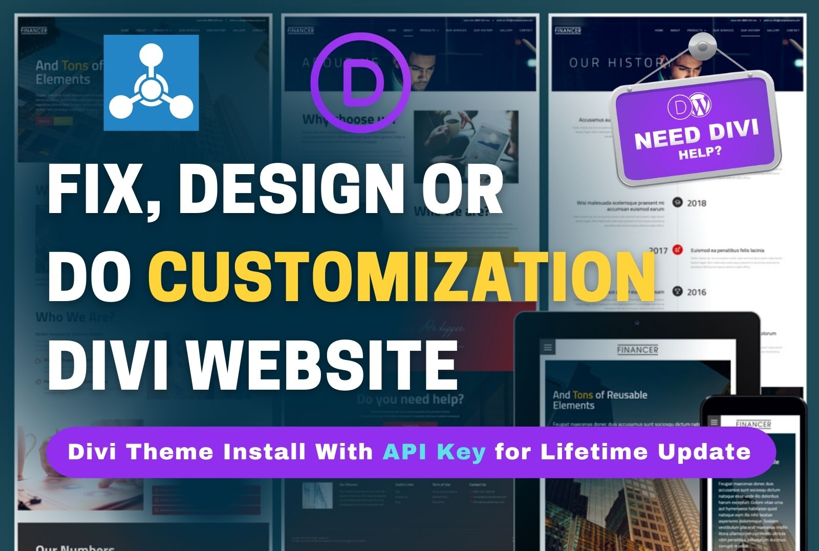 I am expert to build Divi website,  Divi theme customization,  Divi error fixing