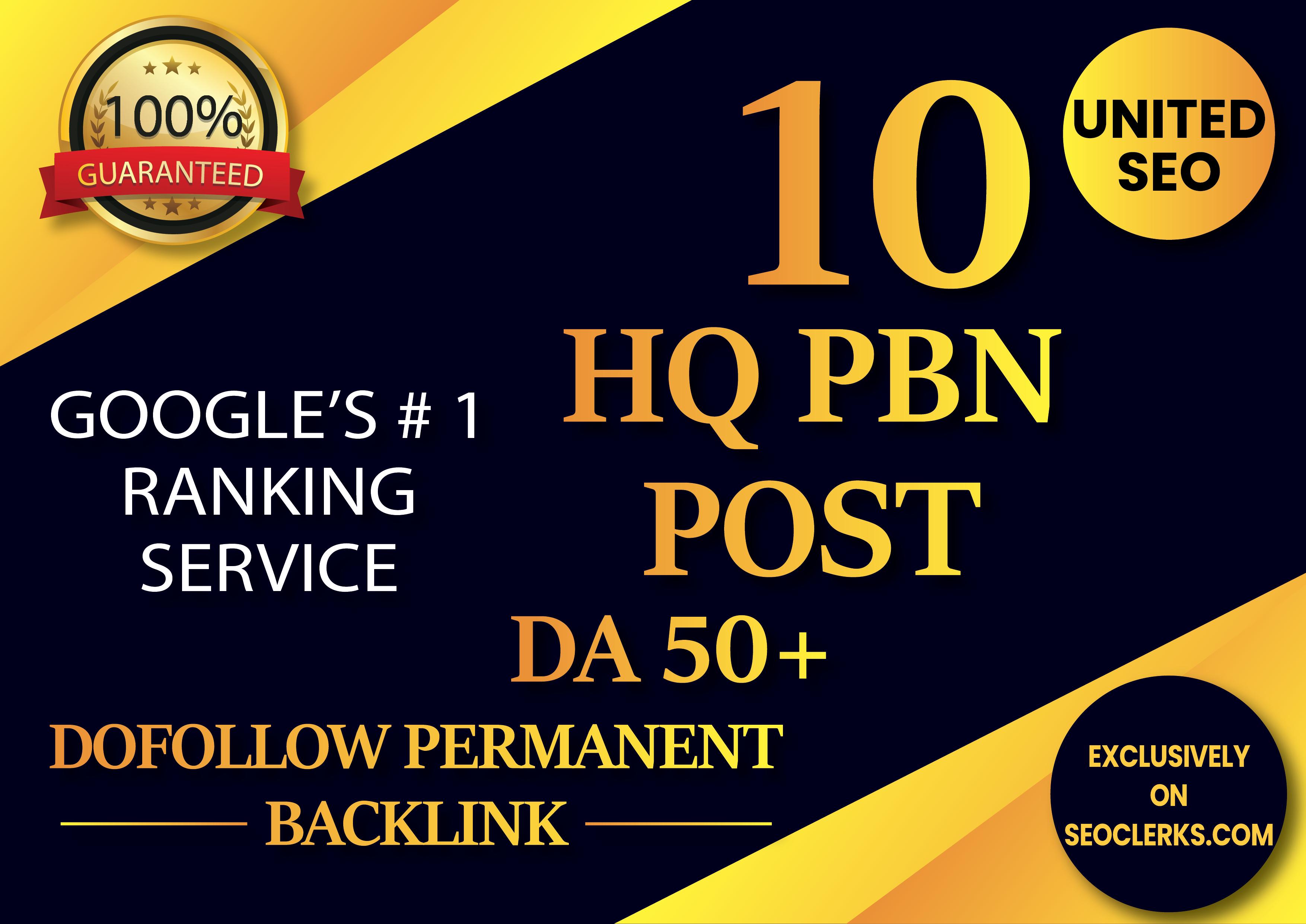 Build 10 High DA 60+ Powerfull PBN Dofollow Permanent Homepage Backlinks