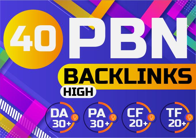 Build 40 DA PA 30+ CF TF 20+ Unique Domain PBN Backlinks