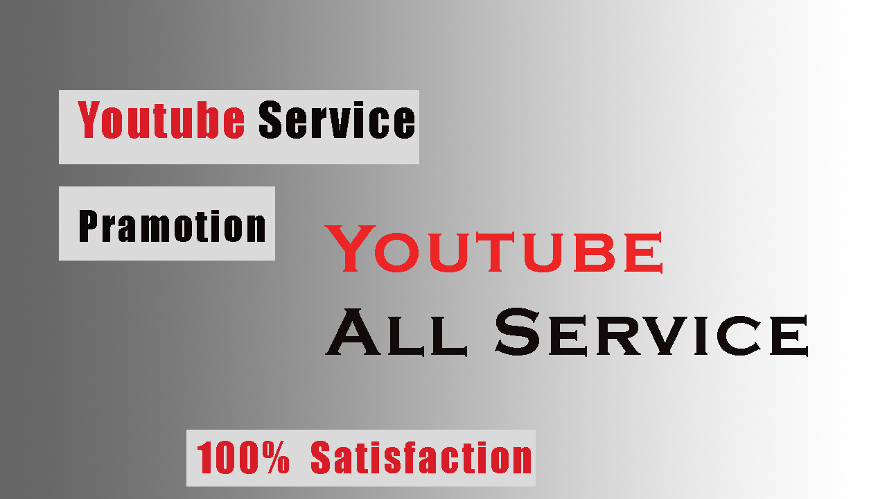 Amazing YouTube Promotion YouTube all the YouTube Service in 01 Package