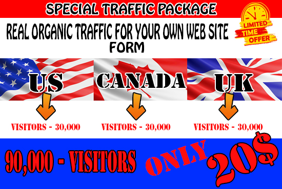 I will drive real organic web traffic from us,  UK,  canada 90,000 visitors