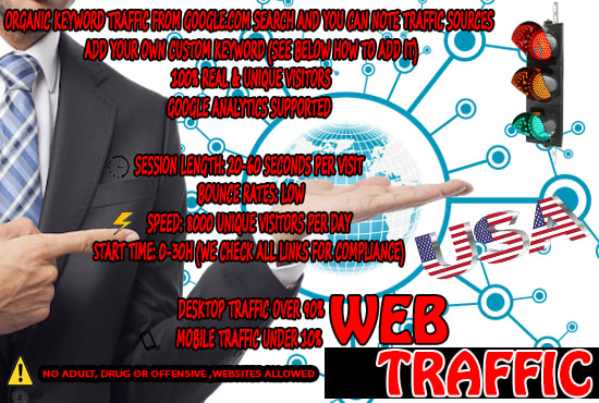 I will real USA organic web traffic for your web site 50,000 visitors