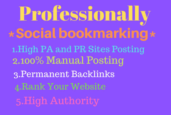 I will do 50 bookmarking in high pa, pr sites by manually