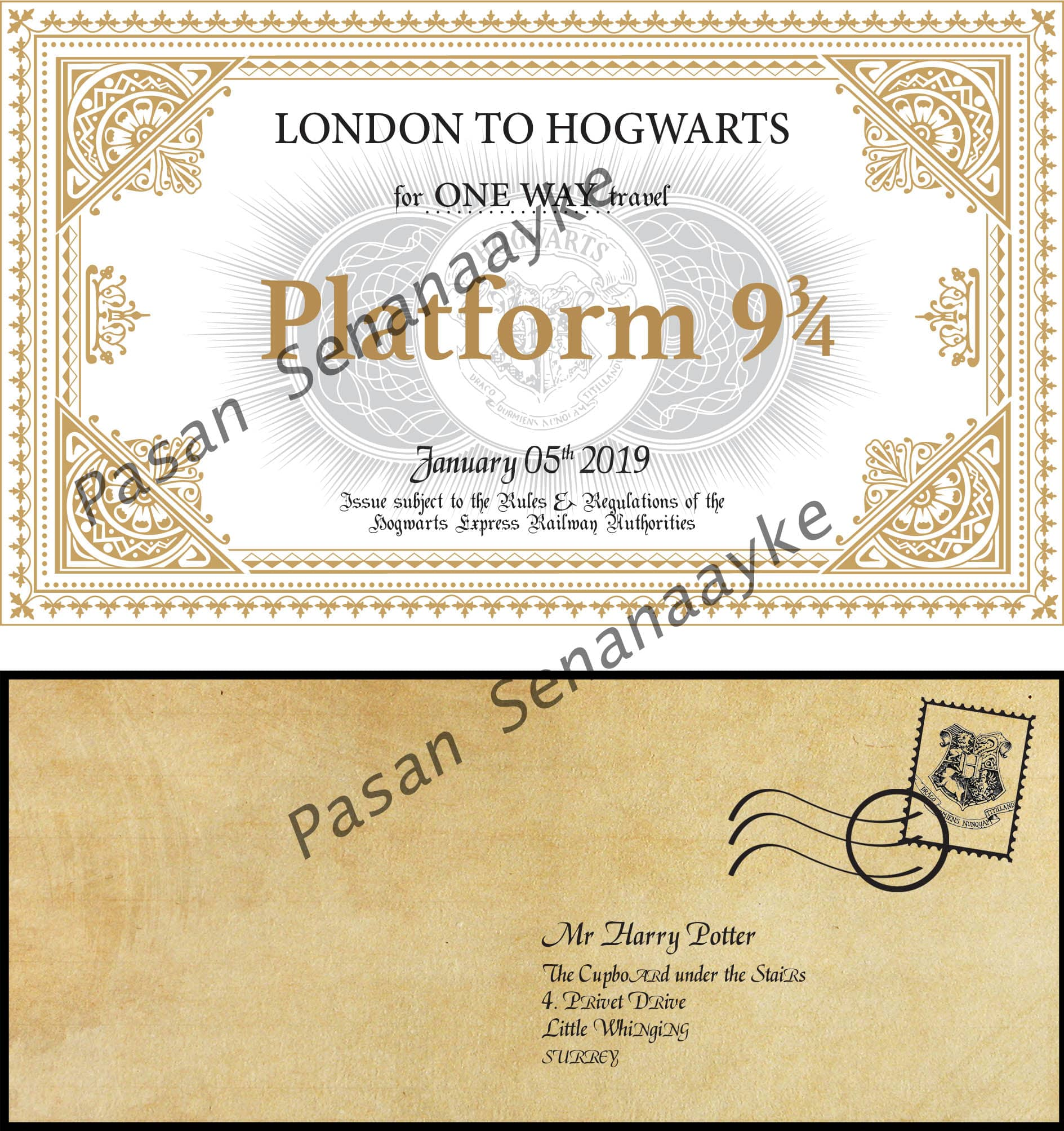 Harry Potter Personalized Hogwarts acceptance letter, Knight bus ticket and etc. For everyone
