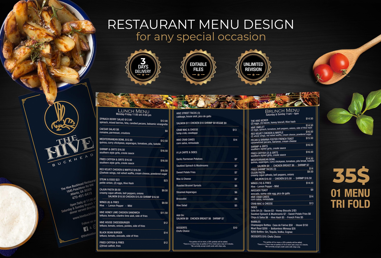 Professionally design restaurant menu ready to print