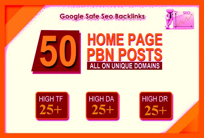 I will 50 high DA PA TF Homepage PBN Backlinks permanent posts with high domain authority