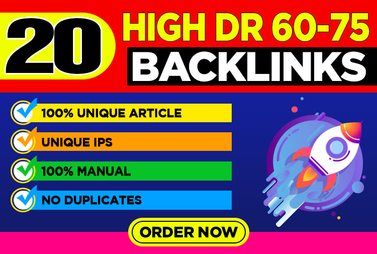 Manually 20 high authority dofollow seo backlinks dr 60 to 75