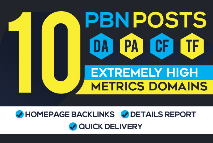I will build 10 pbn post top quality backlinks on high metrics sites