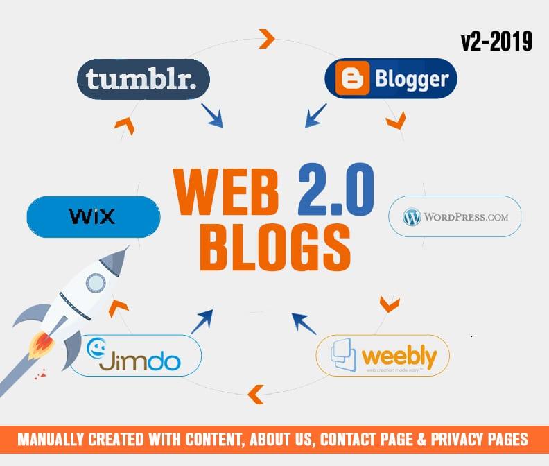 Get 30 High DA Dofollow Web2.0 Blog Backlinks Manually Submission