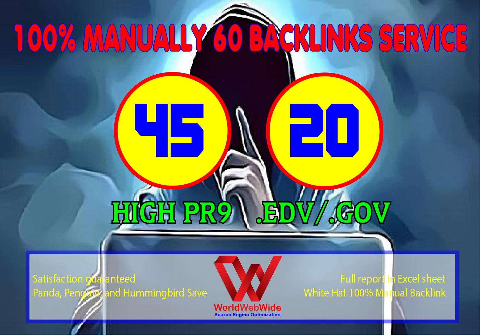 Create 45+ PR9 to PR7 + 20+. Edu/. Gov Safe SEO Backlinks High Authority Site to Boost Your Google