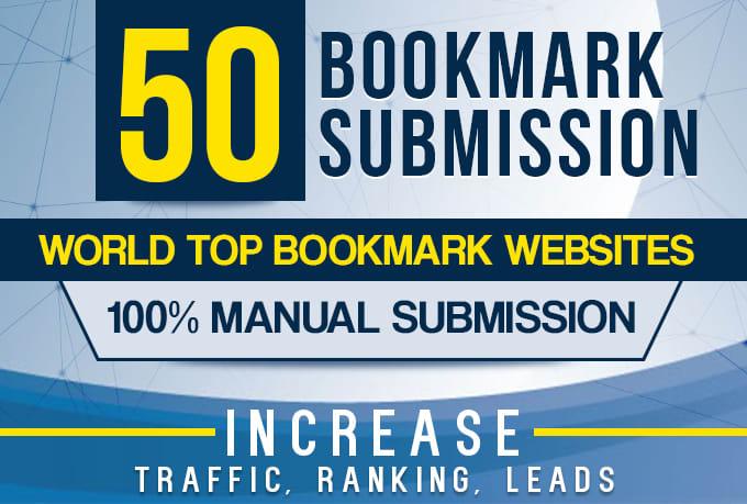 Manually 50 bookmark submission backlinks, high pa da