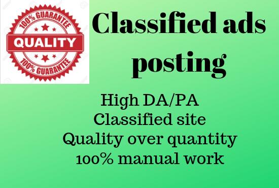 i will do 50 classified ads posting high DA/PA classified site in USA