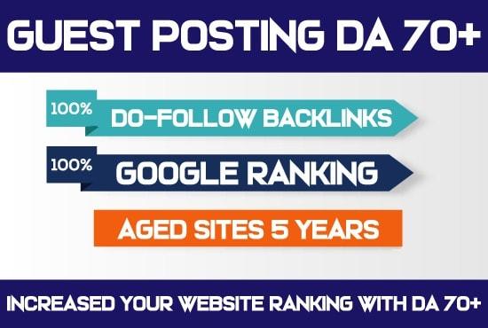 I create publish article on da 70 guest post dofollo site with all niches