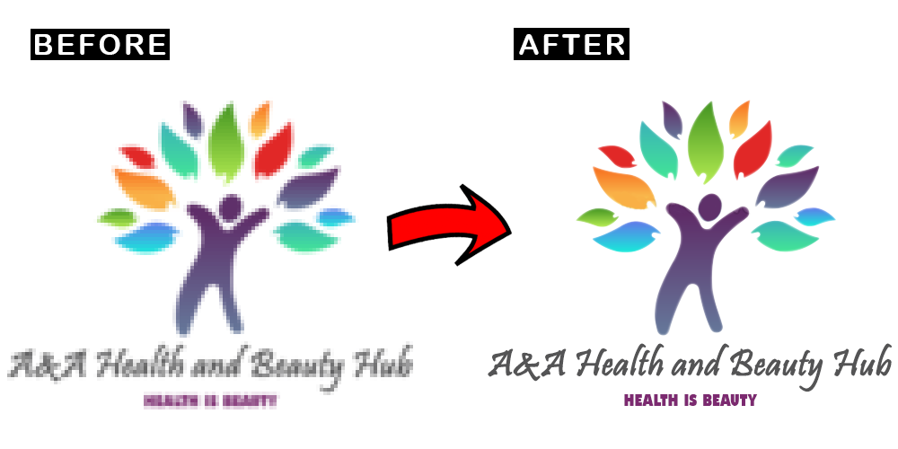 Convert blurred,  low quality and pixelated Logo into HIGH QUALITY