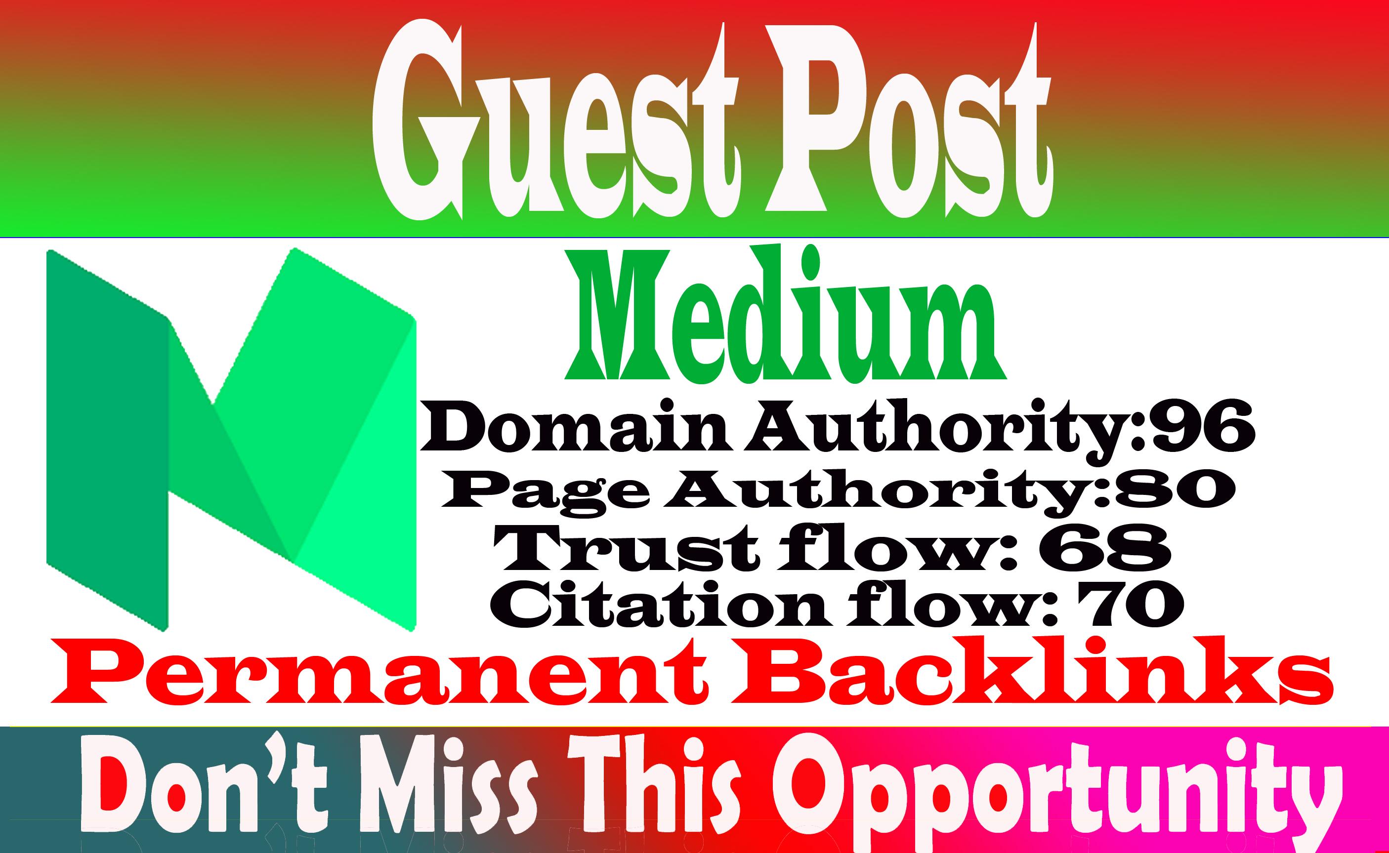 Write publish a guest post Medium,  medium. com DA 96 With index guarantee Within 6 hours