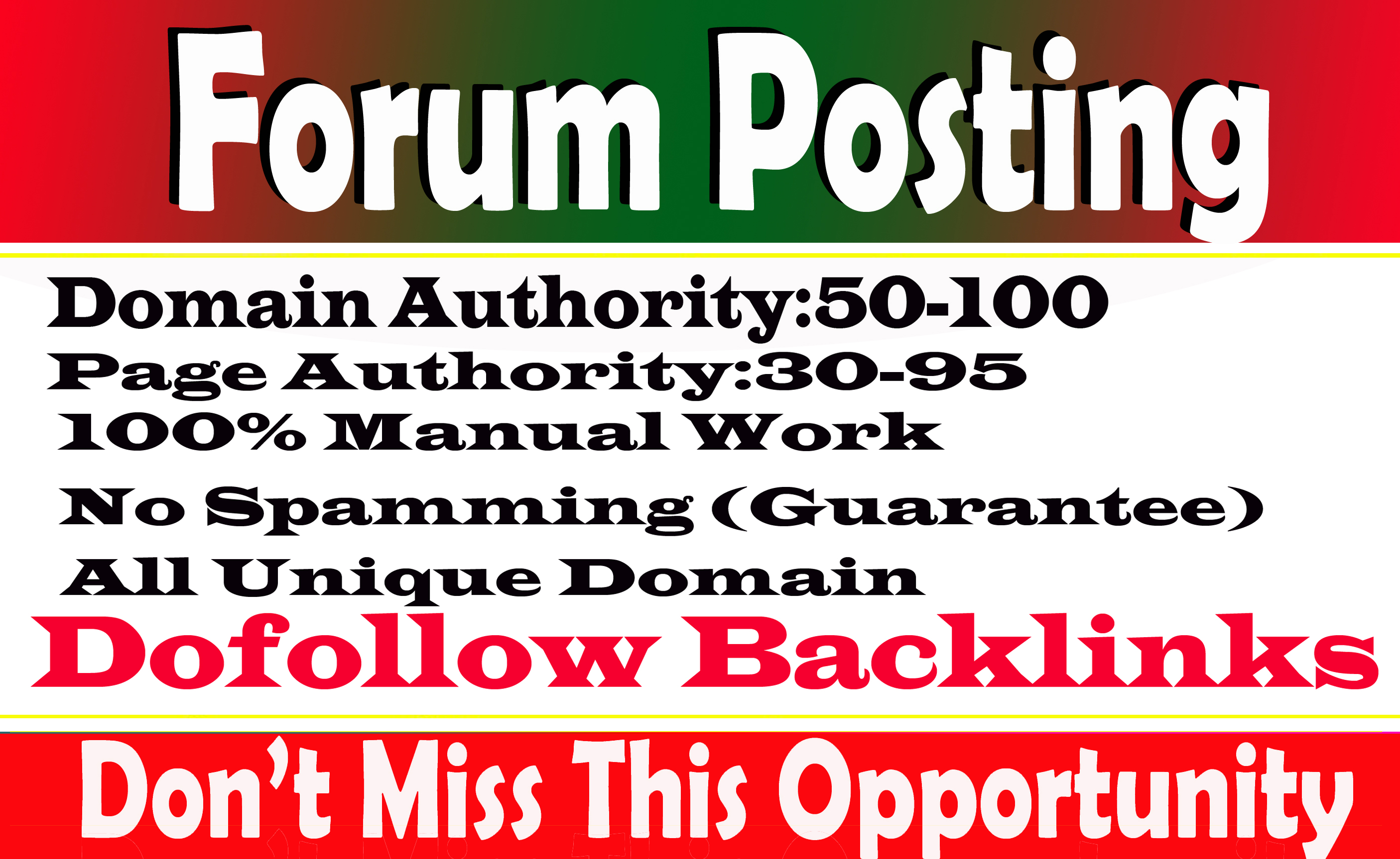 Provide 100 Forum Posting High Authority sites Spam score 10 below