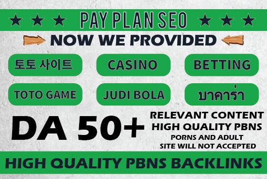 100 Permanent Dofollow High DA 50+ Casino Gambling,  TOTO Games,  Judi Bola Niche PBNs Links