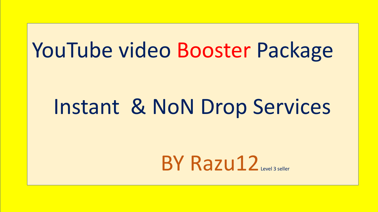 YouTube Video Booster Package Instant & Non Drop Services