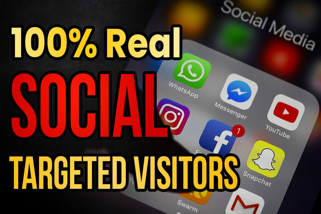 Drive real social media traffic visitors 60K visitors