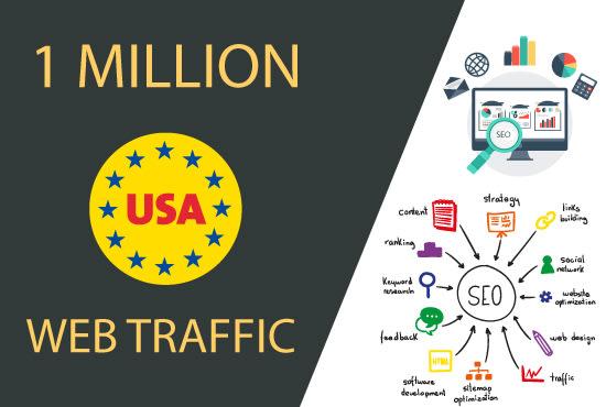 I will drive 500K+ real targeted USA web traffic,  organic visitors