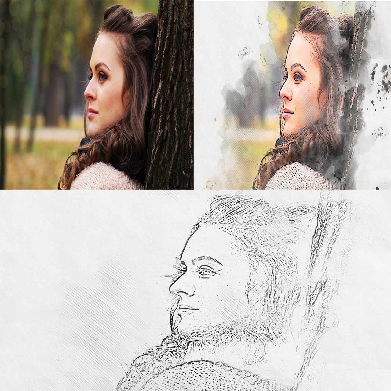 i will convert your 3 photo into pencil sketch art
