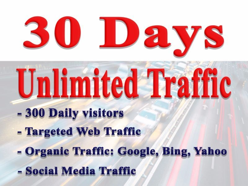Unlimited Google, bing traffic for website with keywords ranking