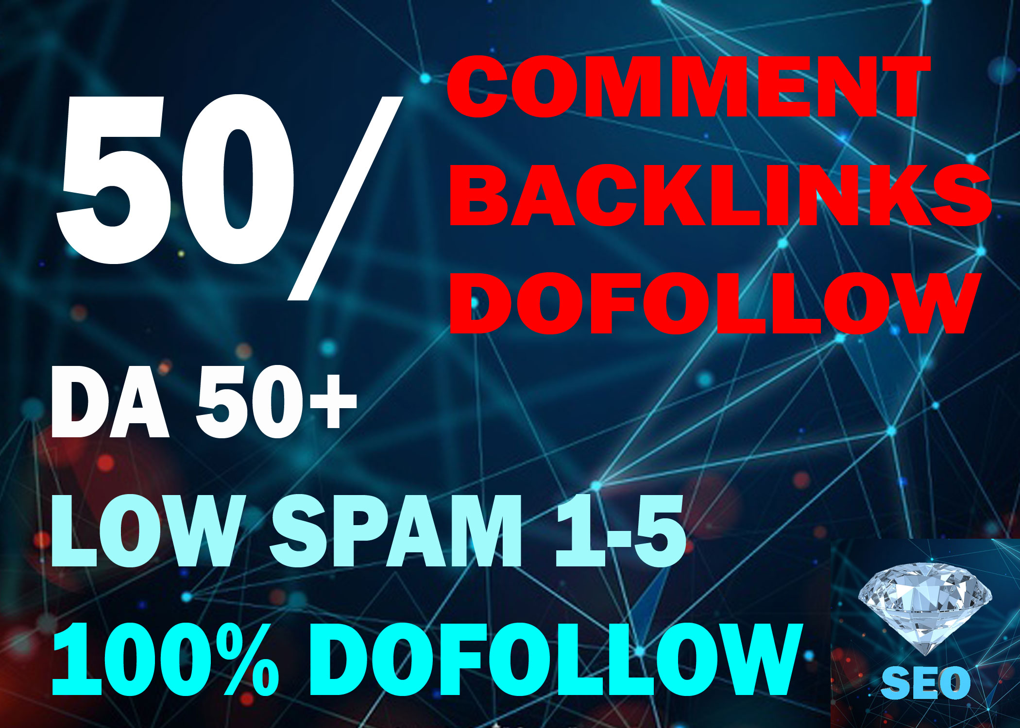 50 Comment Backlinks Withe 50+ Da And Low Spam 1-5 Dofollow