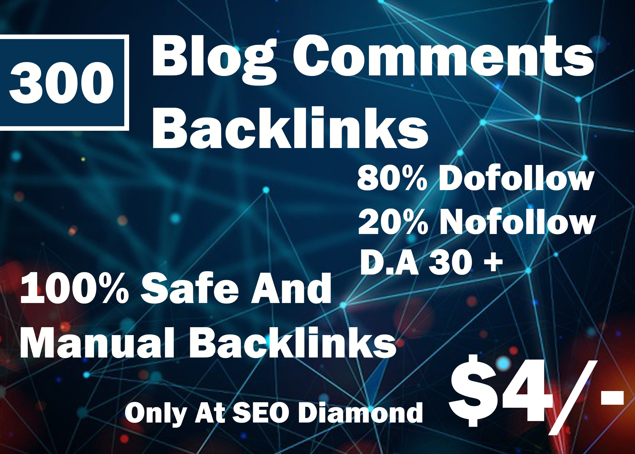 I will create 300 HQ blog comments backlinks dofollow high da, pa.