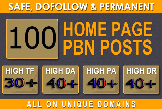 Get Super 100+ Premium PBN BACKLINK with high DA/PA/CF/TF in your hompage WITH Unique Website