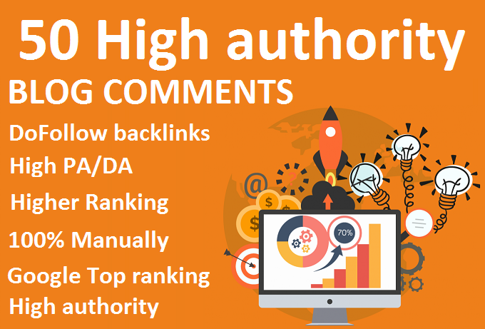 50 High authority Blog comments Google Top ranking seo Backlinks