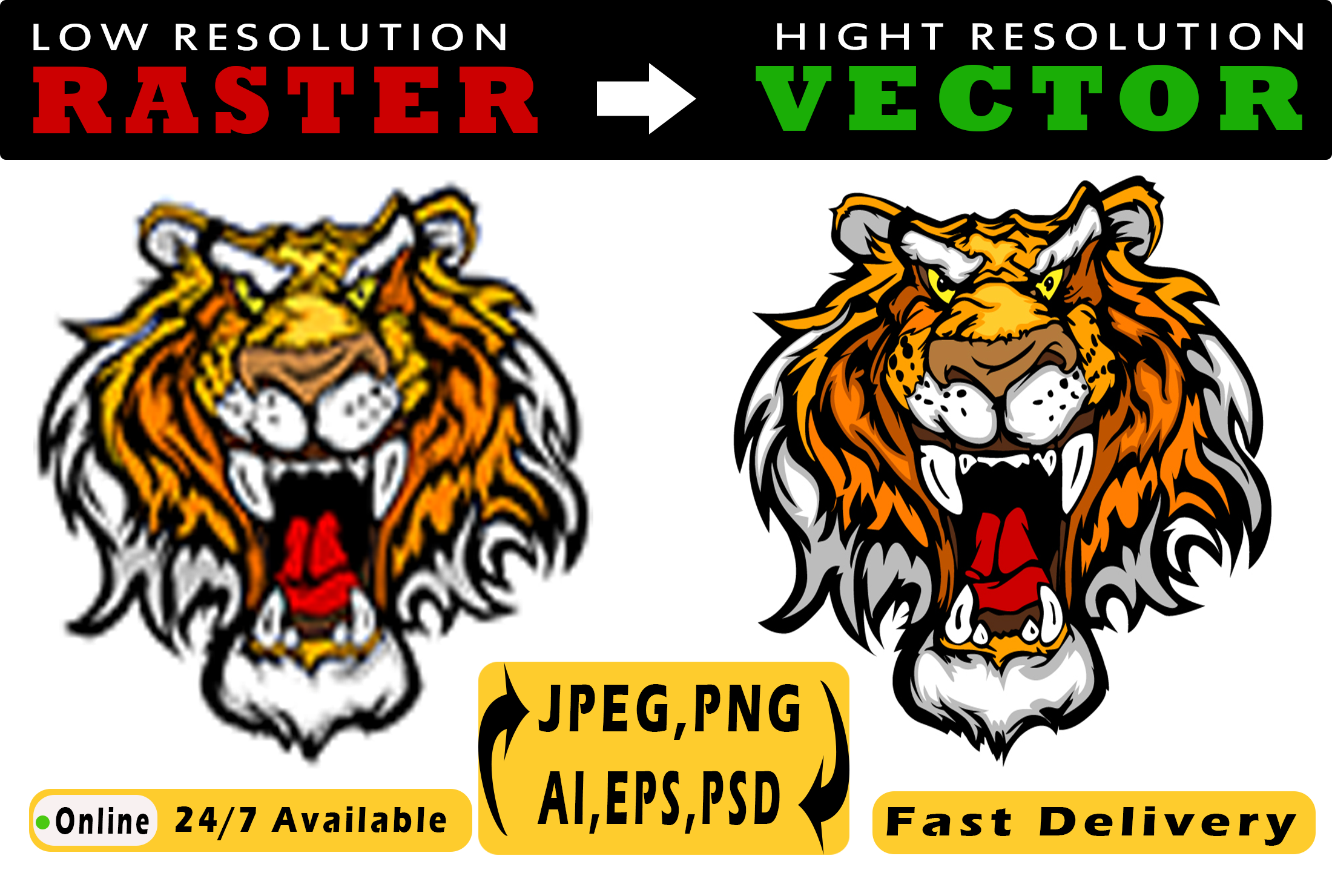 I will convert any file raster to vector ai, psd, png high quality in a short time