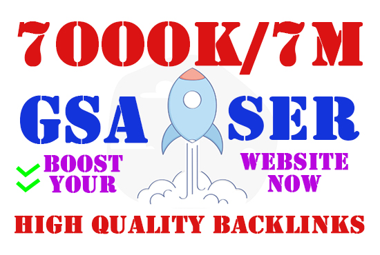 Get 7M highly verified backlinks for rank your website using gsa High Quality work at cheap prices