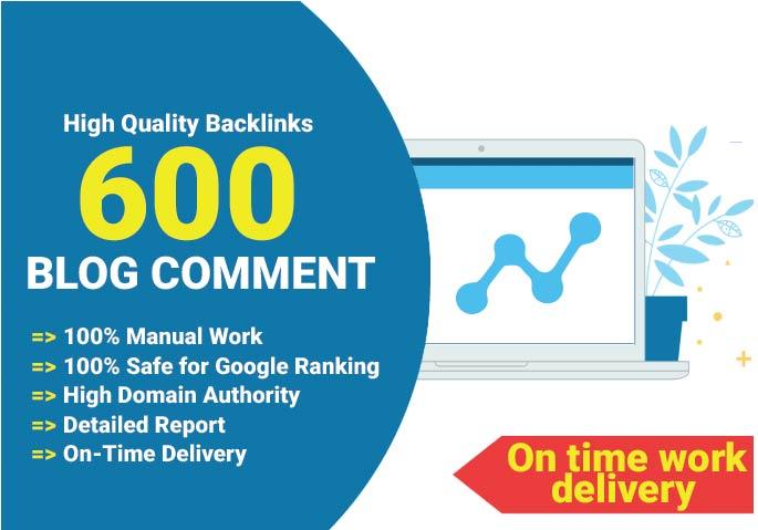 Build 600 high quality blog comment backlinks on quality websites