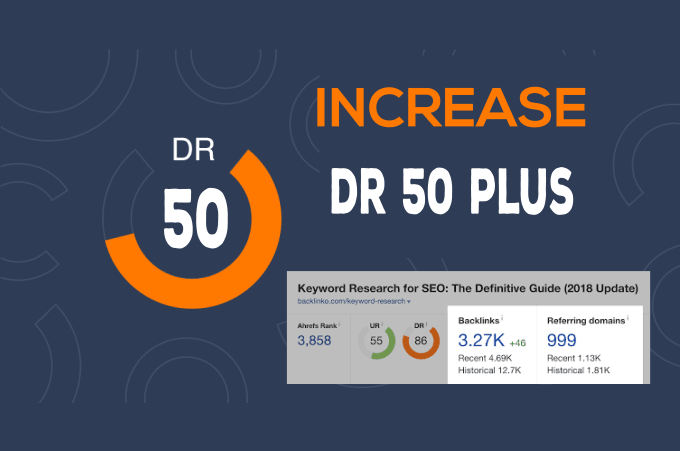 Increase Domain Rating DR to 50 plus of your website